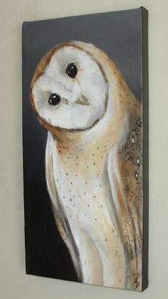 Barn Owl III  6x12 original canvas painting bird by BirdsinHand, $50.00