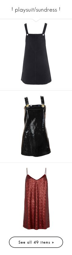 """""""† playsuit/sundress †"""" by ulzz-nara ❤ liked on Polyvore featuring dresses, textured dress, corduroy pinafore dress, vintage style dresses, mini dress, vintage looking dresses, black, overalls, cocktail dresses and patent leather dress"""