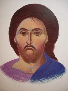 Face of Christ.  Style of Panselinos. Version 2. Stage 3.
