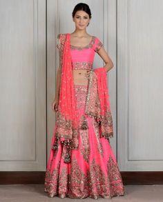 Fuschia Embroidered Raw Silk Lengha.  Manish Malhotra 2014 Wedding clothes, Indian wedding clothing