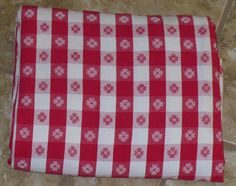 Vintage Red And White Checkered Tablecloth By KlassiqueKreations, $23.50