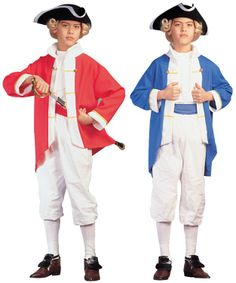 Colonial Captain costume includes red jacket with white trim, white breeches, red sash and white vest front. Patriotic Costumes, Captain Costume, White Trim, Colonial, Children, Fashion, Young Children, Moda, Boys