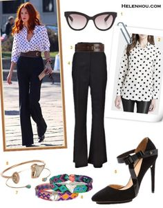 how to wear polka dots, how to wear wide leg pants, how to   wear frill skirt,   On Taylor Tomasi Hill: Equipment polka dot shirt, The Row   high waist black wide leg pants, Michael Kors wide brown   waist belt, Balenciaga leather pump, Dezso by Sara Beltrán friendship bracelet;  Featured:  Marc by Marc JacobsRounded Cat Eye Sunglasses,  Equipment Signature Polka-Dot Blouse,  LINEA PELLE Luna Belt,  THE ROW VAULT