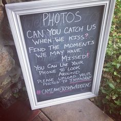 Blackboard instructions for wedding guests to crowdsource Instagram photos at a wedding using Eventstagram