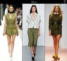 Spring 2015 fashion trends Khaki tones.  Popping up everywhere on the runways, khaki in all of its wonderful nuances, is the shade expected to add the needed amount of freshness to the upcoming spring season. From military, to modern safari takes, expect khaki to take on many characters come spring: