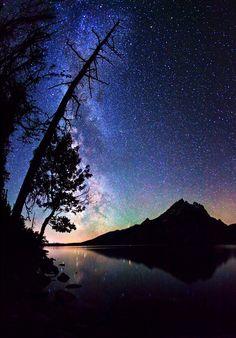 Milky Way stars over Grand Teton Mountain Range at Grand Teton National Park on August 23, 2011 in Wyoming