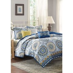 Jla Home Blue Tangiers Queen 6 Pc Cvlet Blue ($100) ❤ liked on Polyvore featuring home, bed & bath, bedding, blue, floral bedding, blue floral bedding, blue queen bedding, floral queen bedding and queen coverlet set