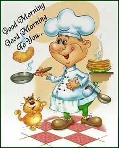 Good Morning Day Night Quotes Pics And Videos. Good Morning Day Night Quotes Pics And Videos Cartoon Chef, Cute Cartoon, Food Illustrations, Illustration Art, Chef Pictures, Le Chef, Kitchen Art, Kitchen Living, Living Room