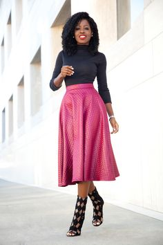 Mock Neck Top + Quilted Swing Midi Skirt