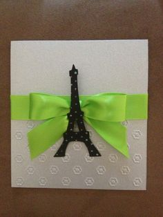 Paris theme invitation. Paris invitation. Apple green invitation. Eiffel Tower invitation.  For more information about this invitation please contact us at annienvite@gmail.com or add us on Facebook: Ann Invite