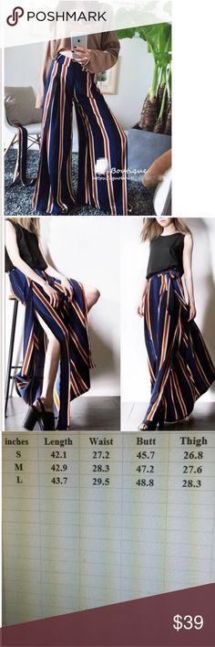 Fall Wide cut strip pants 💕 Super chic. Material: polyester fiber. Size see the last pic. It's so perfectly current for 2016-2017. Free People and Reformation have both done takes on this kind of wide cut pants, perfectly suited for any season Pants