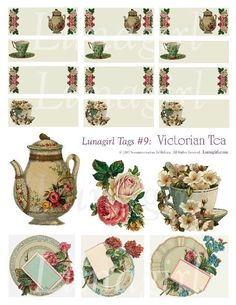 VICTORIAN TEA, Tags Digital collage sheet, vintage images, gift tags, labels, blank, teapot, cups, altered art ephemera DOWNLOAD