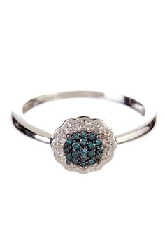 14K White Gold Teal & White Diamond Ring