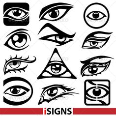 Eye Signs Set  #GraphicRiver         Eye Signs Set Vector   Pack include: EPS…