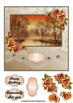 BEAUTIFUL SUNSET on Craftsuprint designed by Karen Nash - A great topper with extras for layering - Now available for download!