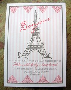Paris Eiffel Tower Invite by SpillingBeans on Etsy, $1.50