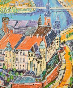"""ArtGalery ° PERSONALART.PL tytuł: """"Kraków"""" autor: Edward Dwurnik personalart.pl/Edward-Dwurnik"""