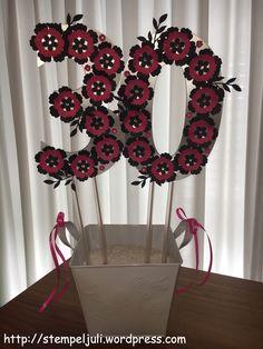 Geldgeschenk 30 Geburtstag Stampin Up Blumen Glitzer Frau schwarz pink wassermelone silber weiss Blumentopf
