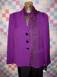 Le Suit Womens Career 2 Pc Business Suit Pants & Blazer Jacket Size 18 (NEW) #LeSuit #PantSuit