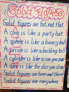 """Solid Shapes & Geome """"Trees"""" (from First Grade Wow Would change the 'solid figures' to shapes'. First Grade Classroom, 1st Grade Math, Math Classroom, Kindergarten Math, Second Grade, Grade 1, Classroom Ideas, Preschool, Math Resources"""
