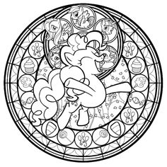 Pinkie Pie Stained Glass Line Art by *Akili-Amethyst on deviantART