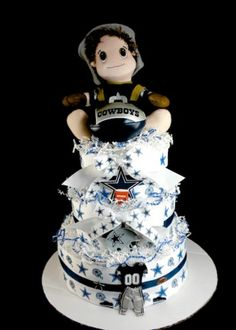 Dallas Cowboy Baby Football Diaper Cake NFL Sports Baby Shower Gift