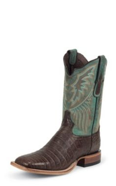 MEN'S CHOCOLATE VINTAGE BELLY BLACK LABEL CAIMAN WESTERN BOOTS WITH TURQUOISE TOPS