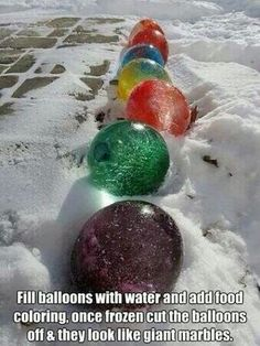 Giant colored ice marbles -Frozen party decorations. Leave out color or add blue for Frozen the movie themed party idea.