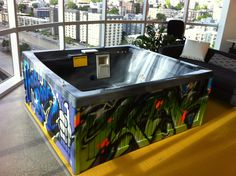 Hot Tub painted by #Weirdo for #Facebook Seattle offices!  #graffiti #spraypaint