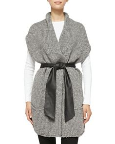 Short-Sleeve Cardigan W/ Faux Leather Belt by Christopher Fischer at Neiman Marcus Last Call.