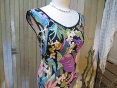 Vintage Tropical jungle floral print Dress rayon bias cut 30s style   https://www.etsy.com/shop/funkomavintage?section_id=5420755