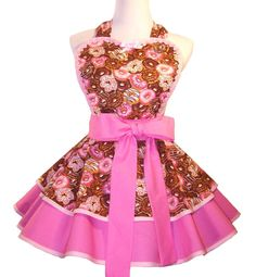 Retro Donuts Apron Pink Donuts Apron Out Of by WellLaDiDaAprons, $60.00