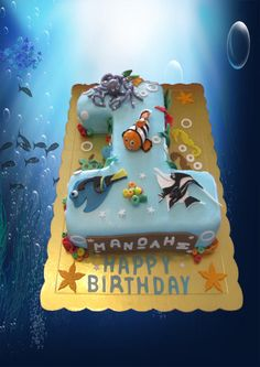 First Birthday Nemo cake - Cake by Morfoula Dinosaur Birthday Cakes, 1st Birthday Cakes, Birthday Ideas, Pool Party Cakes, Pool Cake, Finding Nemo Cake, Baby Boy First Birthday, First Birthdays, Paisley