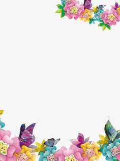 Creative floral border, Flowers, Creative Borders, Butterfly PNG and PSD Free Frames And Borders, Borders For Paper, Watercolor Flower Background, Butterfly Background, Cute Wallpaper Backgrounds, Flower Backgrounds, Backgrounds Free, Butterfly Clip Art, Purple Butterfly