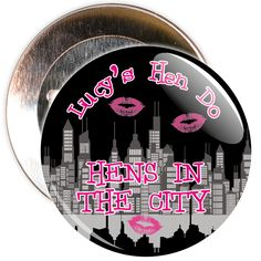 A black customisable hens in the city badge.