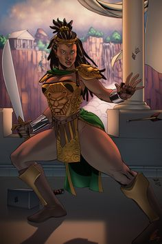 "Nu'Bia by Kamau Mshale, color by Eagle Gosselin Magic Monday  This is the ""black Wonder Woman!"""