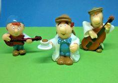 Tetley Tea Folk - Three Vintage Collectable Figures Tetley Tea, Tunbridge Wells, Folk Music, Cartoon Characters, Smurfs, Tea Pots, Christmas Ornaments, Holiday Decor, Advertising