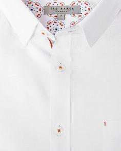 Short sleeved textured linen shirt - White | Shirts | Ted Baker
