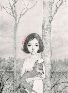 From timblr-Helice Wen / Girl with fox