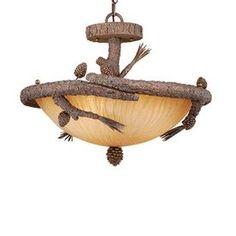 Cascadia Lighting�21-1/2-in Pine Tree  Semi-Flush Mount Ceiling Light rustic