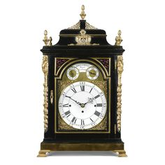 A fine gilt-brass mounted ebonised chiming table clock, John Cowell, London, circa 1765 8-inch one-piece enamel dial with leaf and shell spandrels and well pierced hands, the engraved arch with subsidiary strike/silent and regulation dials flanking an enamel plaque signed John Cowell, Royal Exchange, the similarly signed six pillar three train fusee movement with deadbeat escapement, rise and fall regulation, trip repeat quarter chiming on a nest of eight bells