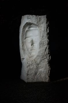 Ekeberg Sculpture Park, Oslo, Norway. The scupture Konkavt Ansikt (Concave face) made by Hilde Mæhlum. The light is coming from the left, so the shadow becomes strange since the face goes inwards.