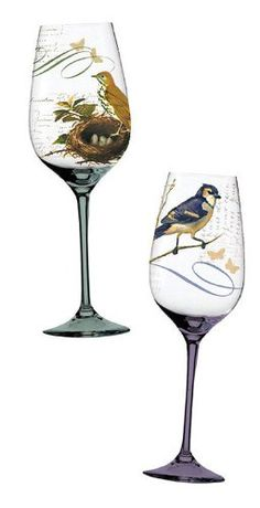$29.99-$47.52 Layers of Nature Hand-painted Glasses - 2 Asst. - These woodland birds perch upon thin tree branches, surrounded by the charms of nature and wisps of the warm-weather breeze. One overlooks her nest, while the other is surrounded by butterflies, creating wine glasses like no other. Whether used outdoors accompanied by birdsong or indoors accompanied by memories of warmer days, these ...