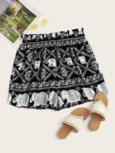 Color: Black Fabric: Fabric has no stretch Fit Type: Regular Composition: Polyester Pattern Type: Animal, Tribal Season: Summer Style: Boh Boho Fashion Summer, Tribal Fashion, Plus Size Womens Clothing, Plus Size Fashion, Clothes For Women, Plus Size Shorts, Plus Size Outfits, Older Women Fashion, Plus Size Summer