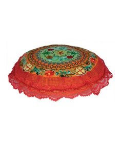 Take a look at this Orange Tropical Beaded Throw Pillow by Karma Living on #zulily today! $37 !!