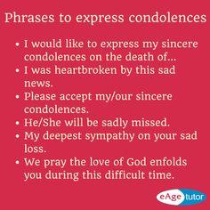 Phrases to express condolences