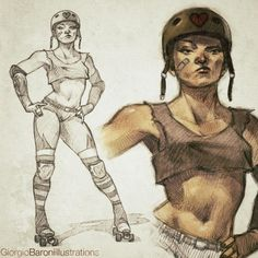 """@Sketch_Dailies quick #rollerderby girl #sketch #Sketch_Dailies #conceptart #illustration #art #characterdesign"""