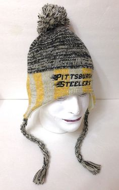 974d72a7205 vtg-look PITTSBURGH STEELERS PERUVIAN POM BEANIE Beige Gray Yellow Striped  ADULT  Reebok  PittsburghSteelers