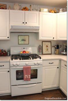 inexpensive farmhouse kitchen. Dagmar's Home. DagmarBleasdale.com #farmhouse #kitchen #cottage #white
