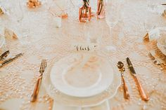 Peach Sequin and Gold Luxor Flatware  Photo from The Big Fake Wedding Minneapolis/St. Paul collection by Ali Leigh Photo